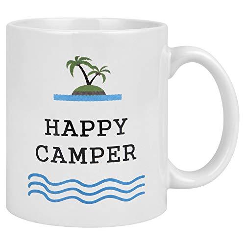Kaffeetasse Happy Camper Lustiger Kaffee Camping Tasse weiß 312 ml umweltfreundlich Camp Becher perfekt für heißen Morgen Kaffee oder kühles Lagerfeuer Whiskey 11 Ounce Happy Camper - Camper Becher Happy