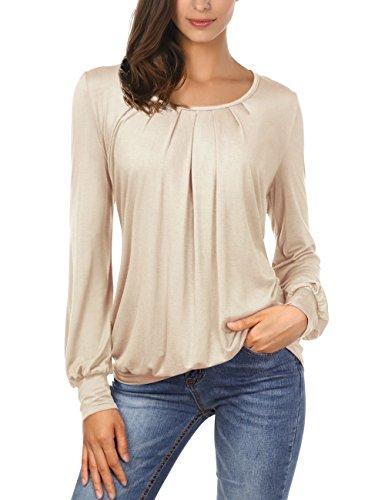 4a1ccdeaa55dee DJT Damen Langarmshirt Rundhals Langarm T-Shirt Falten T-Shirt Casual  Stretch Bluse Top