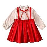 Robe Bébé, Mamum Enfants Bébé Fille Hiver Vêtements Bowknot Rose Pulls Patchwork Filé net Paillettes Princesse Robe (rouge, 13(3-4 Ans))