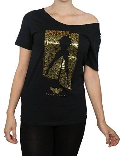 DC Comics Damen T-Shirt, Kein Muster Schwarz