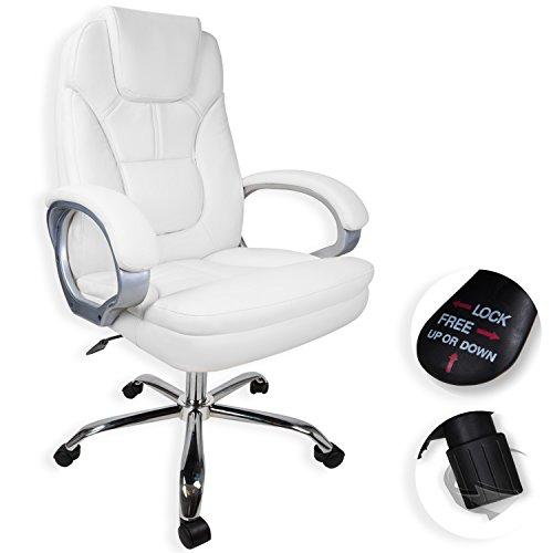Kesser® Racer Bürostuhl Chefsessel Schreibtischstuhl Drehstuhl ✓ Stufenlos höhenverstellbar ✓ Gepolstert ✓ Wippfunktion | Ideal für Zuhause & im Büro | Gaslift | Sicherheitsdoppelrollen Leder , Farbe:Weiß