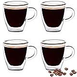 Eparé Espressotassen, Isolierglas Demitasse Set (60 ml) - Doppelwandige Thermobecher Tasse - Trinkbecher für Tee, Latte, Lungo oder Cappuccino - 4 Gläser