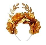 Disfraz de diosa Griega Diadema de flores + 2 brazaletes para Halloween- Accesorio corona de hojas dorada banda de pelo romana