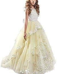82b3d4c39 IWEMEK Appliques Vestido de Primera Comunión Princesa Vestido de Niña de Flores  Vestidos de Dama De Honor de Cordón Tul Boda Sin Mangas…