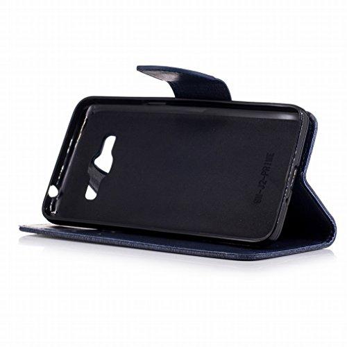 Custodia Samsung Galaxy J2 Prime / G532F Cover, Ougger Farfalla Stampa Portafoglio PU Pelle Magnetico Morbido Silicone Flip Bumper Protettivo Gomma Shell Borsa Custodie con Slot per Schede (Rosa) Blu Scuro