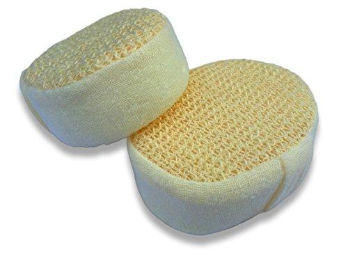Lot de 2 Packs d'Éponges de Chanvre pour le Corps 14cm Qualité Premium - Exfoliation de la Peau - Nettoyage en profondeur, Anti-âge pour une Peau Saine - Éponge Ultra Douce et Durable - Éponge de bain