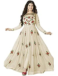 W Ethnic Women Georgette Anarkali Semi-stitched Salwar Suit (WE--ERT-EwF10216_Off White_free Size)