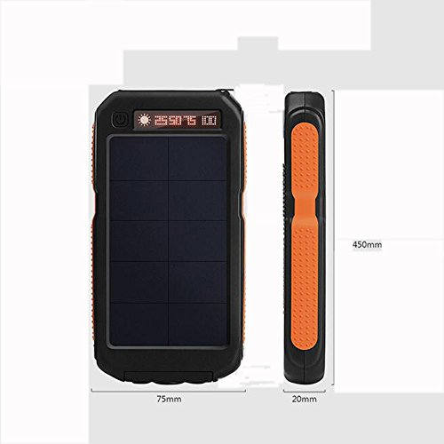 Kangle caricabatterie solare mobile power 12000mah con display digitale dual usb 1.0a/2.1a impermeabile led sos torcia elettrica per iphone ipad samsung galaxy android phone
