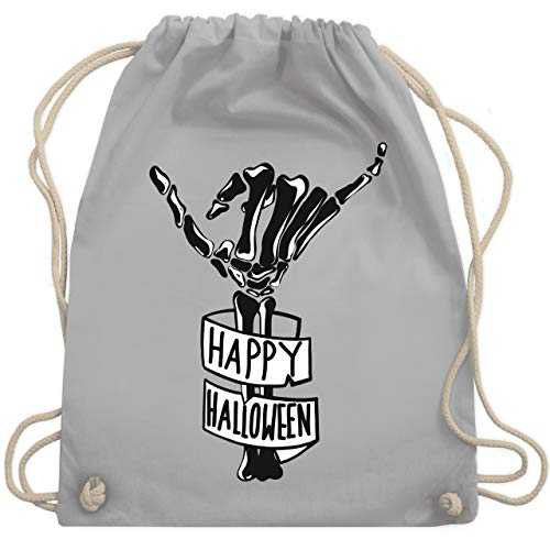 Halloween - Happy Halloween Skelett Hand - Unisize - Hellgrau - WM110 - Turnbeutel & Gym ()