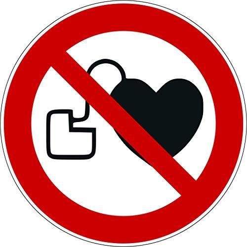 Aufkleber Kein Zutritt für Personen mit Herzschrittmachern oder implantierten Defibrillatoren 9 Stück Verbotszeichen P007