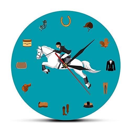 xuyuandass Wanduhren,Modern Wanduhren Quarz lautlos Wanduhren Reitsport-Ausrüstungs-Satz-Reiten-Gang-Reißnagel-Zusätze-Wand-Uhr-Reitsport-Pferdeliebhaber-Geschenke (Reitsport-reiten-ausrüstung)