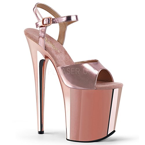 Pleaser Flamingo-809, Sandales Bout Ouvert Femme Rose Gold Met. Pu/Rose Gold Chrome