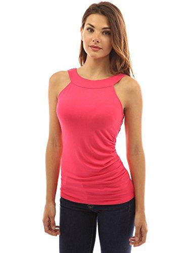 PattyBoutik femmes blouse en dentelle sur le dos à col U à l'arriere et de retour côté froncé rose foncé