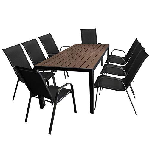 Multistore 2002 9tlg. Gartengarnitur Aluminium Gartentisch, Tischplatte Polywood, Braun, 205x90cm + 8X Stapelstuhl, Textilenbespannung in Schwarz - Gartenmöbel Set Sitzgarnitur Sitzgruppe