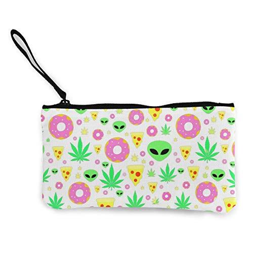 Frauen und Mädchen Alien Donut Pot Leaf Weed Pizza Weiß Cute Fashion Geldbörse Brieftasche Tasche Ändern Pouch Schlüsselhalter