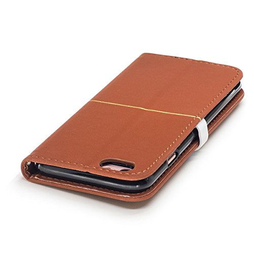 iPhone 6plus Hülle,Fodlon® Mode Gold Samt Pflaume Blühen Kopf Karte Schlitze mit Schlüsselband Telefon Schutzhülle -Marine braun