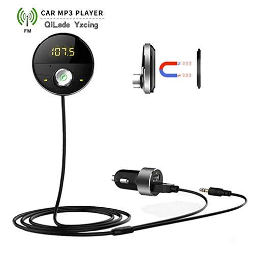 QILade Yzcing Bluetooth AUX-Freisprecheinrichtung Car Kit, Empfänger Auto Hands Free Adapter für Autos mit 3,5 mm Klinke Wireless FM Transmitter, MP3-Player-Auto-Ladegerät Hands Free Fm Hands Free Kit