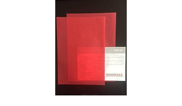 Fensterbilder 50 Blatt DIN A4 Transparentpapier rot 200g//m/² exzellente Durchsicht Einlegebl/ätter f/ür Alben f/ür Windlichter Einladungen sehr gute Qualit/ät Bastelarbeiten Fotoalben Visitenkarten