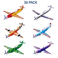 Toyvian 36 Pack Flying Glider Planes, foam air gliders Paper Airplane Toy Model Kits in 6 Different Designs,Paper Party Bag Fillers Aeroplane Activities for Kids