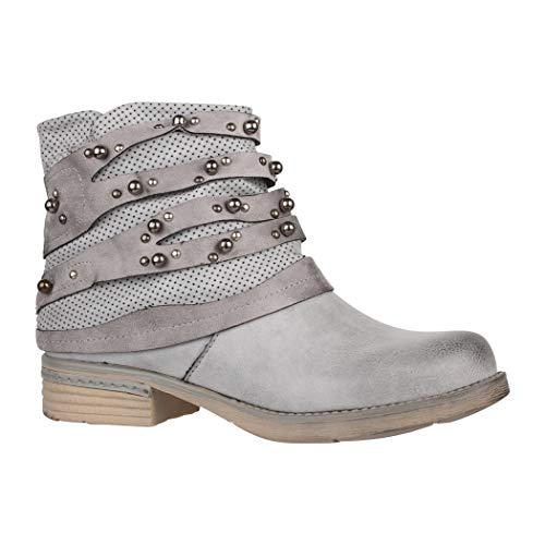 Elara Damen Stiefelette | Bequeme Biker Boots | Metallic Lederoptik | Chunkyrayan F2319 Grey-39