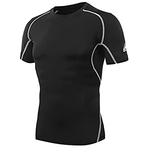 AMZSPORT Men's Compression Short-Sleeved Top Cool Dry Baselayer T-Shirt Black XXL
