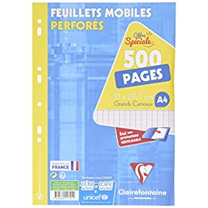 Clairefontaine - 11791C - Seyes loose leaf - Large tiles - Pack of 500 A4 sheets + 1 protective case - 21 x 29.7 cm