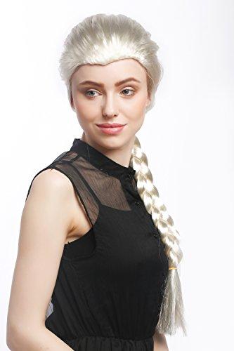 WIG ME UP - XR-009-P613 Perücke Damen Karneval Cosplay Blond Hellblond langer Zopf geflochten Prinzessin ca. 70 cm (Disney Elsa Perücke)
