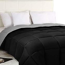 Utopia Bedding Trapunta Double-Face 300 gr/m²- Morbida Piumino Invernale (230cm x 260cm) - per Letto 180 cm - Piumino Reversibile (Bicolore) - Grigio e Nero