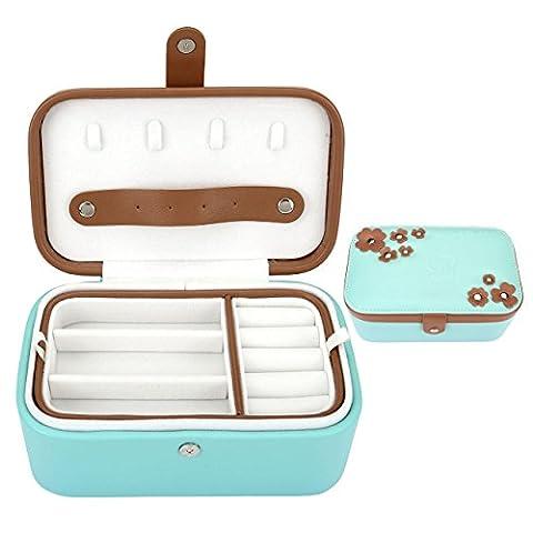 Mogoko Schmuckkasten aus PU Leder Schmuckkoffer Schmuckschatulle Doppelschmucksache Aufbewahrungsbox Kosmetikkoffer Schmuckkästchen Schmuckbox Schmuckkiste Geschenk (Blau)