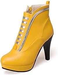 MEI&S Bloque de mujer Tacones Botines de puntera redonda zapatos con plataforma