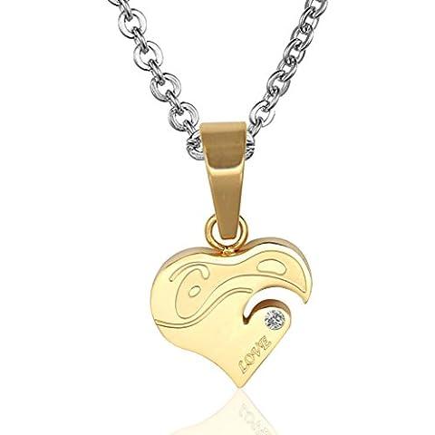 Donna Ciondolo Uomo Collane in acciaio inossidabile di amore del cuore di figura CZ