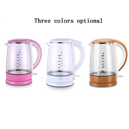 WI Hohe Qualität Wasserkocher Wasserkocher Glas Rosa Weiß Creme Farbe 1500W 1.7L EIN Topf Automatische Abschaltung Isolierung Home Travel Einfach zu bewegen, schnell kochendem Haushalt Wasserkocher,W