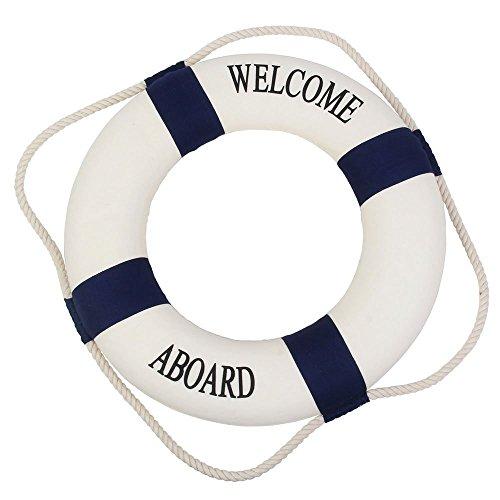 Willkommen an Bord Nautische Rettungsring Ring Wand haengende Hausdekoration (blau, 25cm) (Nautische Hängende Dekorationen)