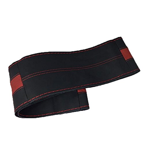 CHEZAI 2018 Auto Lenkrad Abdeckung Sport Massage Hand genäht Lederbezug, Black red