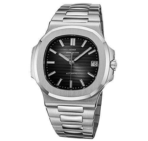 Sportlich Elegante Herren Automatik Uhr Modell Nautiker, Saphirglas, massives Armband, 2813 Uhrwerk, Silber/schwarz