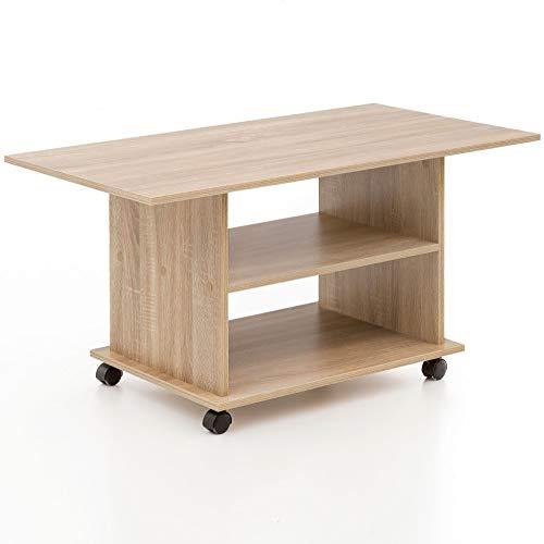 FineBuy Design Couchtisch FB13579 95 x 51 x 54,5 cm Sonoma Drehbar mit Rollen   Wohnzimmertisch Coffee Table   Sofatisch Loungetisch Holz   Kaffeetisch mit Stauraum
