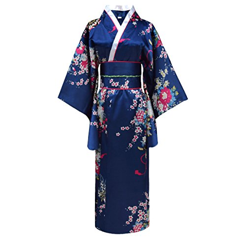 Japanischer geisha Kimono dunkelblau mit (Kostüm Frauen Geisha Für)