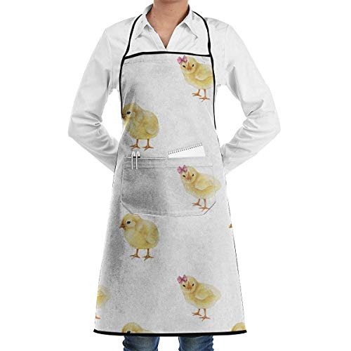 fregrthtg Cooking Aprons with Convenient Pocket, Little Chicks in Pink Bows On White Easter Spring Bib Apron
