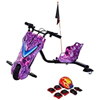 Drifting Electric Scooter Pink with Helmet Pad Set, Knee and Elbow Pads 36V