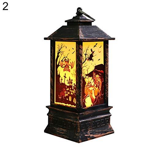 EDQZ Halloween LED Dekor Lampe Vintage K¨¹rbis Hexe Geist Hand Flamme Licht Laterne - Hexe