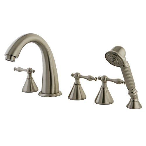 Kingston Brass KS23685NL Naples Roman Tub Filler with Hand Shower, Satin Nickel by Kingston Brass -
