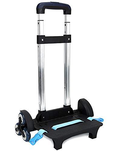 Trolley Alu Gepäckwagen - Handwagen Entfernbar Rollen Einkaufswagen für Kinder SchulrucksackStil-3, 6 Räder