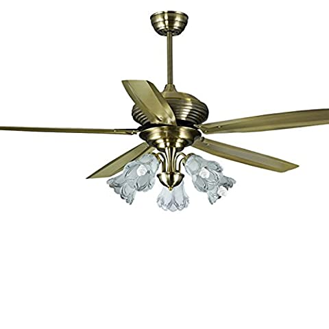 SDKKY Feuilles de bronze, fer à repasser, ventilateur, lampe vent grand salon avec lampe, ventilateur de plafond, ventilateur,lampe de contrôle mural