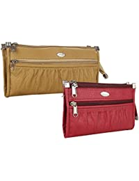 Element Cart Pu Wallet/Clutch/ Purse Combo Of 2 For Women (Beige And Maroon)