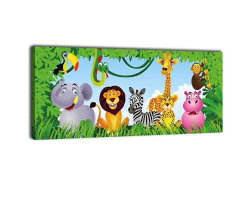 Leinwandbild Panorama Nr. 404 AnimalGroup 100x40cm, Keilrahmenbild, Bild auf Leinwand, Urwald Tiere Kinder -