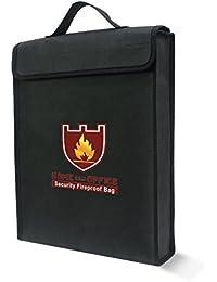 Ignífugo bolsa de documento Bolsa de fuego y resistente al agua bolsa de dinero/recargable, revestimiento de silicona fibra de vidrio, con cremallera, cierre de velcro para máxima de almacenamiento (15× 12× 3pulgadas)