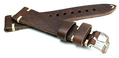 RIOS1931 19mm / 16mm Germany Handarbeit BS Dunkel Braun kräftiges Rindsleder Military Style Armband Retro Look Quality Strap Flieger Band Pilotband