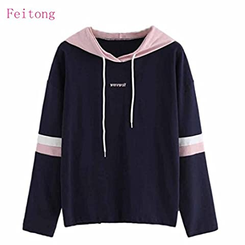 Sonnena Womens Striped Embroidery Letter Hoodie Sweatshirt Hooded Pullover Tops Blouse (XL, Navy)