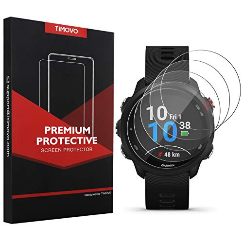 TiMOVO 5-Pack Tempered Glass Screen Protector for Garmin Forerunner 245, Premium 2.5D Arc Edges 9H Hardness HD Clear Watch Protective Film - Clear Premium Screen Protector