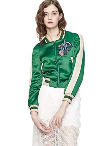 Jacket Damen Herbst Gemütlich Bomberjacke Embroidery Gemustert Langarm Mode Marken Mit Zipper Seitentaschen Stehkragen Bikerjacke Täglich...